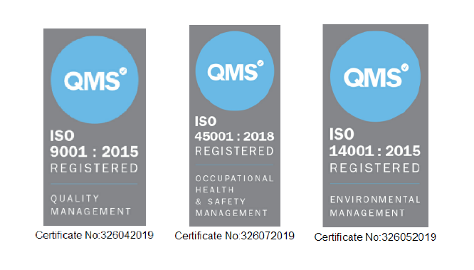 We've gained ISO 9001, 14001 & 45001